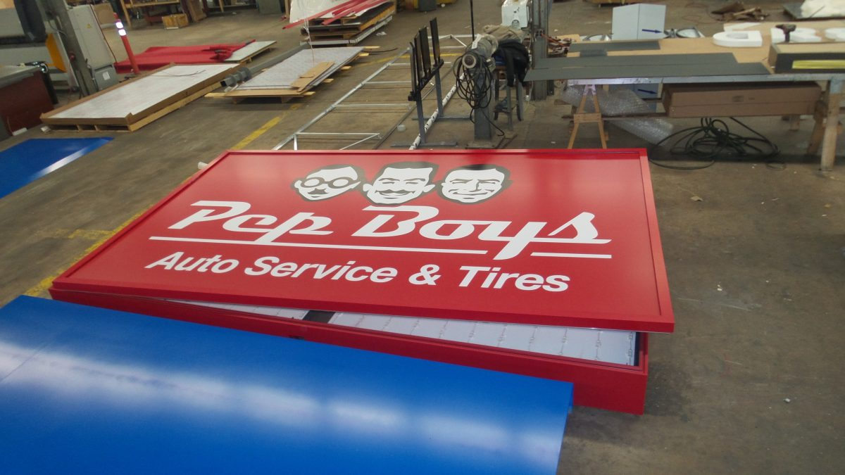 Pep Boys sign while still being constructed