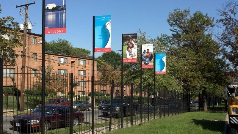 Several exterior banners in a row