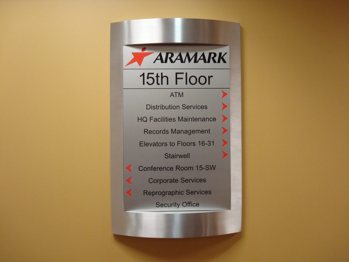 Aramark interior direction sign