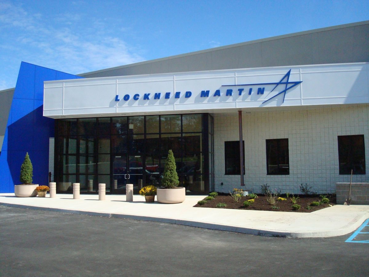 Custom Lockheed Martin lettering with logo