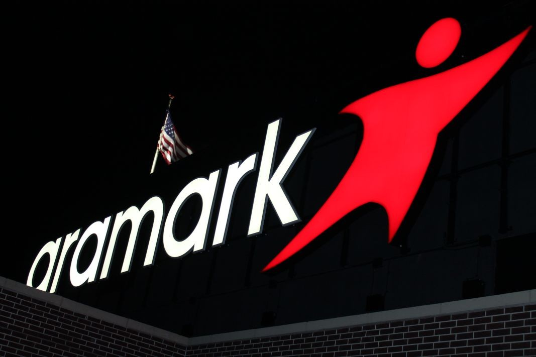 Lighted Aramark sign