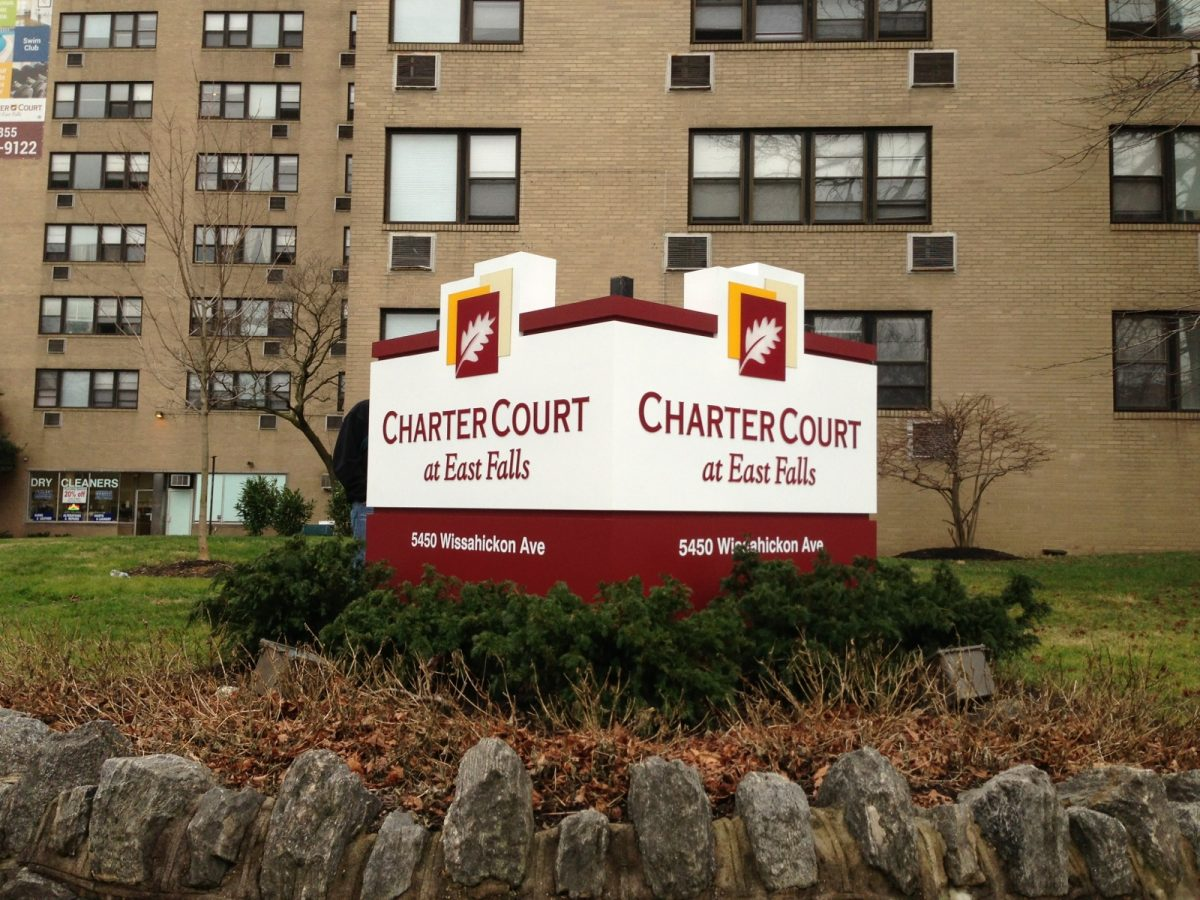 Charter Court two-sided v shape sign