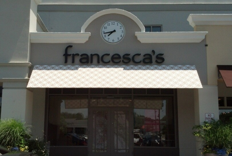Channel Letters Francescas printed awning 2
