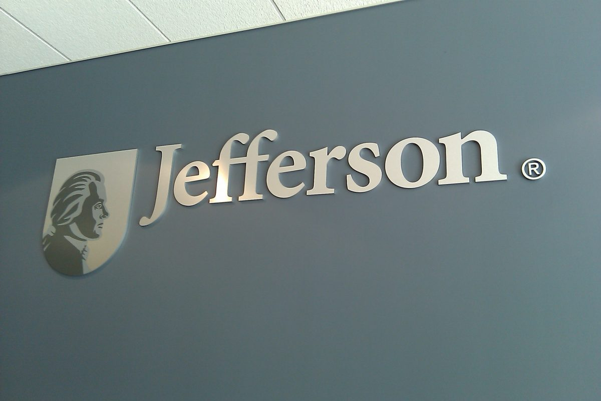 Raised lettering and logo for Jefferson University