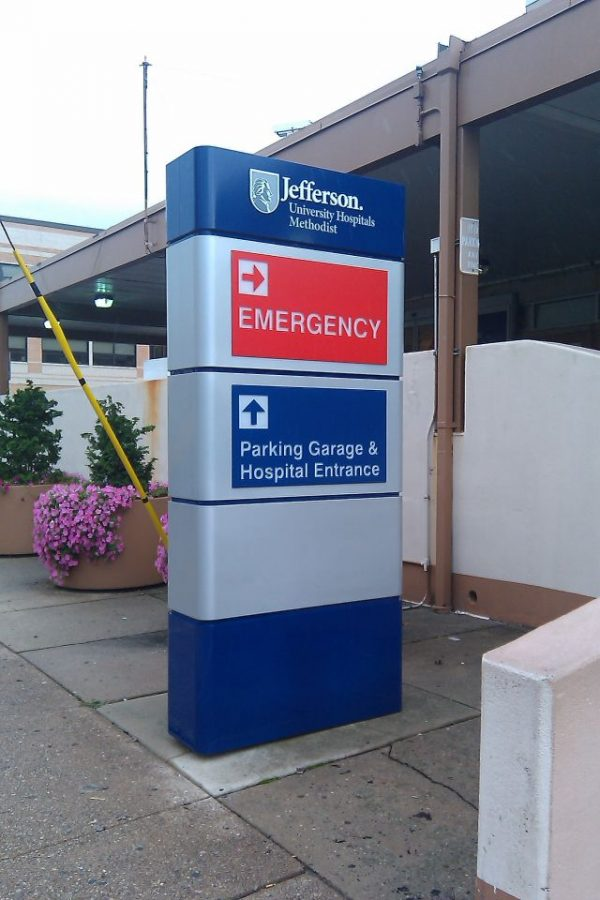 Jefferson emergency room directional sign side view
