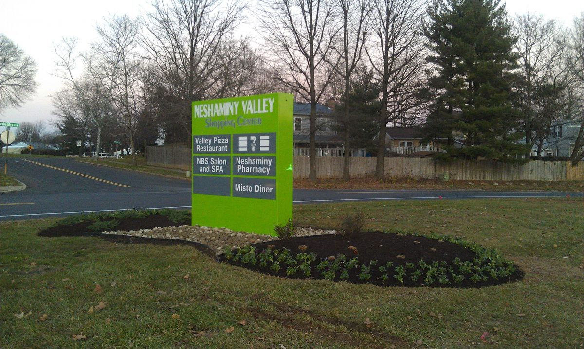 Sign cabinet for Neshaminy Valley Shopping Center side view