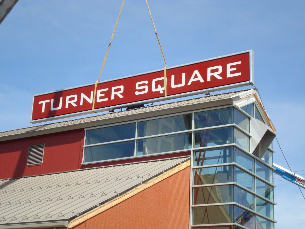 Turner square rooftop sign