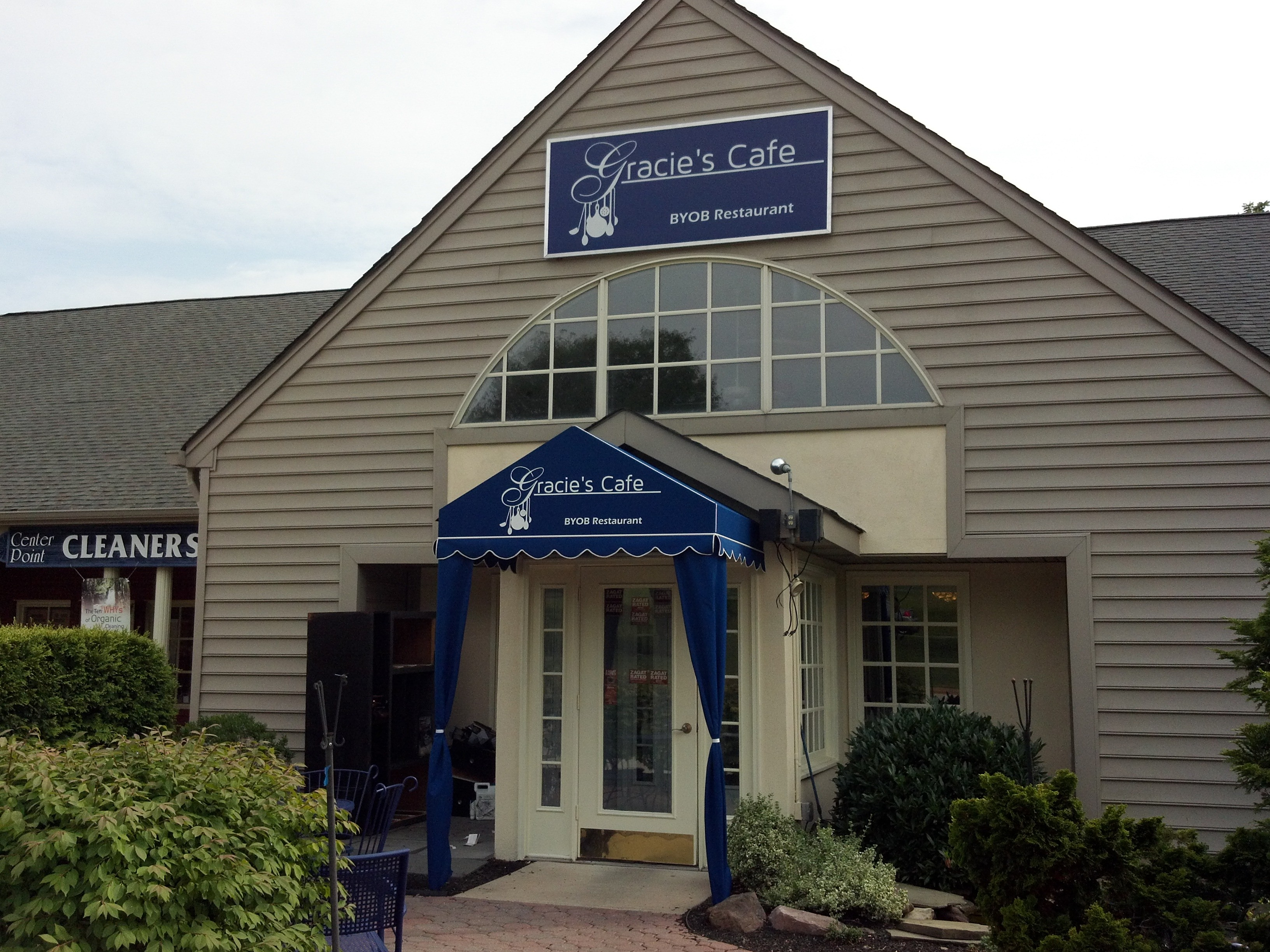 Gracies cafe sign and custom awning